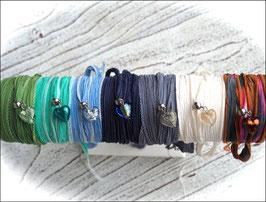 Seidenarmbänder mit Muranoglas-Herzen