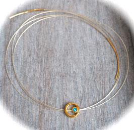 Collier Circle oder Lederkette Circle blau oder beige