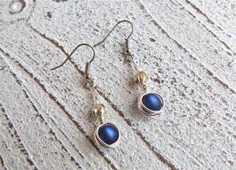 Ohrringe Nest hängend aus Silberdraht mit Polaris Perlen blau