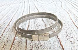 Wickelarmband grau Nappaleder matt mit Nieten und Zamak Magnetverschlusse