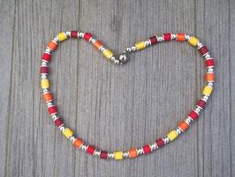 Sommerkette mit matt gelb orangen Polaris Walzen und Magnetverschluss