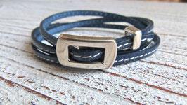 Wickelarmband Leder dunkelblau mit Ziernaht und Zamak Schnalle