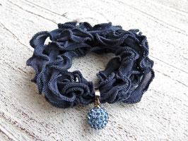 Seidenarmband mit Edelstahl Clip und Charm blau