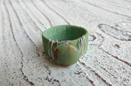 Ring aus Kork in grün mit  Impressionsjaspis