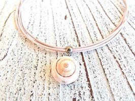 Lederkette lachs/vintage rosa mit Trompetenmuschel Perle