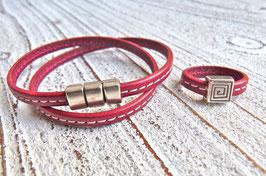 Lederring rot mit Ziernaht und Zamak Element