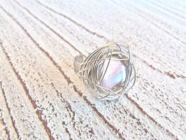 Keshi Perlen Ring Nest silber grau mit Edelstahl Ringschiene