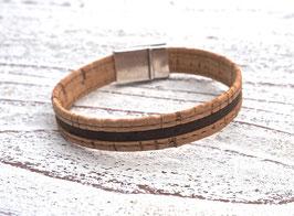 Armband vegan aus Kork mit 2-farbigem Korkband in beige und braun