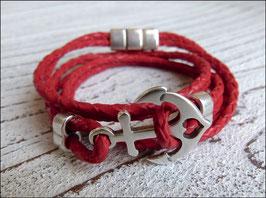 Wickelarmband aus weichem geflochtenen Leder mit Anker und Magnetverschluss in rot