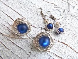 Set Ring, Anhänger und Ohrringe Nest aus Silberdraht mit Polaris Perlen blau
