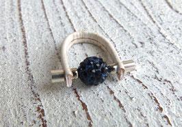 Wechselring aus Kork in weiß (schmal) mit einer Shamballa Perle in dunkelblau
