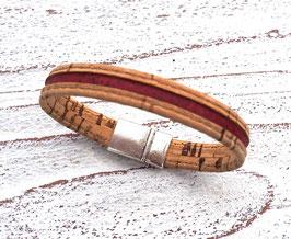 Armband vegan aus Kork mit 2-farbigem Korkband in beige und dunkelrot