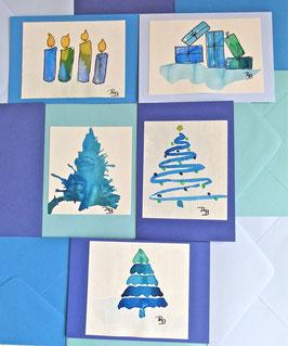 6 Karten oder 6 Weihnachtskarten Original Aquarelle