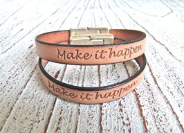 "Lederarmband Freundschaftsarmband hellbraun ""Make it happen"""