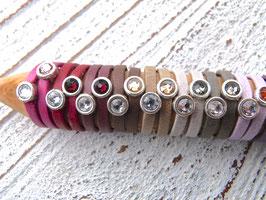 Lederringe 2er Set pink matt einzeln oder als Kombi tragbar