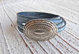 Wickelarmband vintage blau mit Magnetschnalle