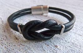 Lederarmband Knoten schwarz Sie und Er