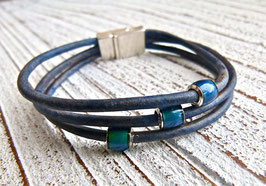 "Lederarmband ""Mood"" in blau"