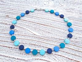 Blaue Kette mit matten Coin Polaris