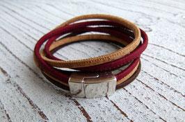 Wickelarmband breit aus veganem Kork in dunkelrot, natur beige und dunkelbraun