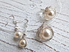 Set Ring, Anhänger und Ohrringe Nest aus Silberdraht mit Kristall Perlen