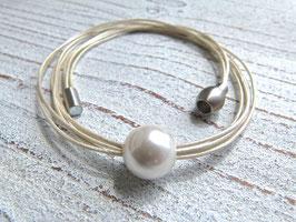 Lederkette Perle in perlmutt
