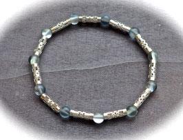 Bergkristall Armband mit Edelstahlröhren blaugrau