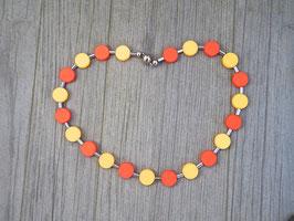 Sommerkette mit matt gelb orangen Coin Polaris und Magnetverschluss