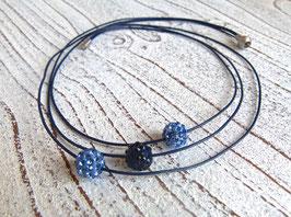 Lederkette Shamballa blau mit Edelstahl Magnet Verschluss matt
