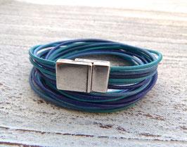 Wickelarmband Leder Farbmix blau