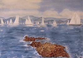 Segelregatta bei St- Tropez  70 x 50 x 1,5 cm