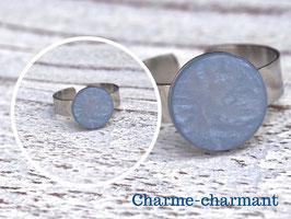 Edelstahlring mit Polaris Perlen Cabachon  in graublau