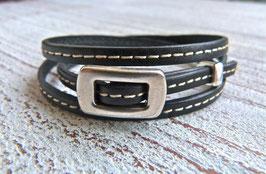 Wickelarmband schwarz mit Zamak Schnalle