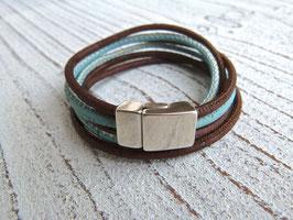 Wickelarmband breit aus veganem Kork in türkis und braun