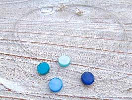 Blaues Collier mit schwebenden Polaris Coins