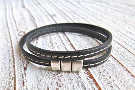 Wickelarmband schwarz mit Ziernaht und Zamak Magnetverschlusse