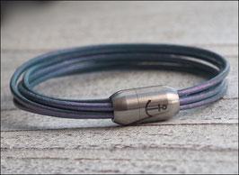 Lederarmband Anker 5-reihig eisblau metallic