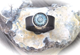 Lederring Mandala in dunkelgrau