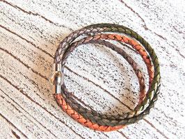 Wickelarmband Leder Herbst Winter Mischung mit Edelstahl Magnet Verschluss