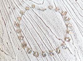 Keshi Perlen Kette silber grau