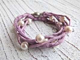 Seidenarmband mit Süßwasserperlen taupe violet