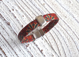 Armband vegan aus Kork im Flower Power Look mit einem  schlichten Zamak Element