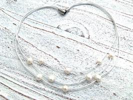 Lederkette mit Süßwasserperlen in weiß 3- reihig