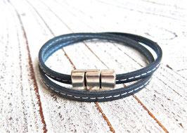 Wickelarmband Leder dunkelblau mit Ziernaht und Magnetverschluss