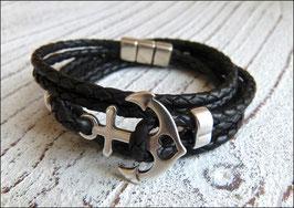 Wickelarmband aus weichem geflochtenen Leder mit Anker und Magnetverschluss in schwarz
