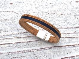 Armband vegan aus Kork mit 2-farbigem Korkband in beige und dunkelblau