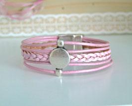 Lederarmband rosa metallic 5-reihig