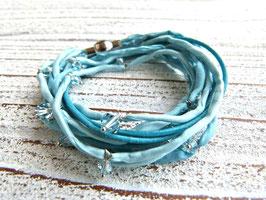 Armband aus Leder und Seide in türkis
