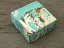 Pouringbild klein im Vintage Style in mint 10 x 10  x 4 Nr.1 glänzend