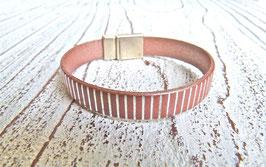 Lederarmband kupferfarben metallic mit silbernen Streifen
